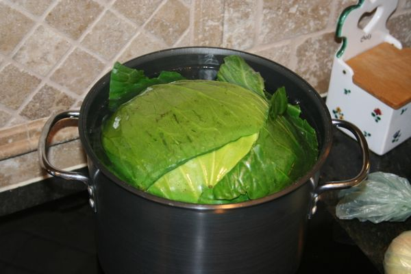 boiling green cabbage