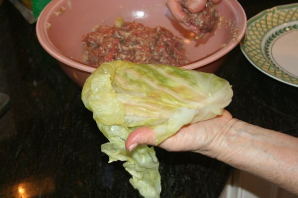 stuffing green cabbage